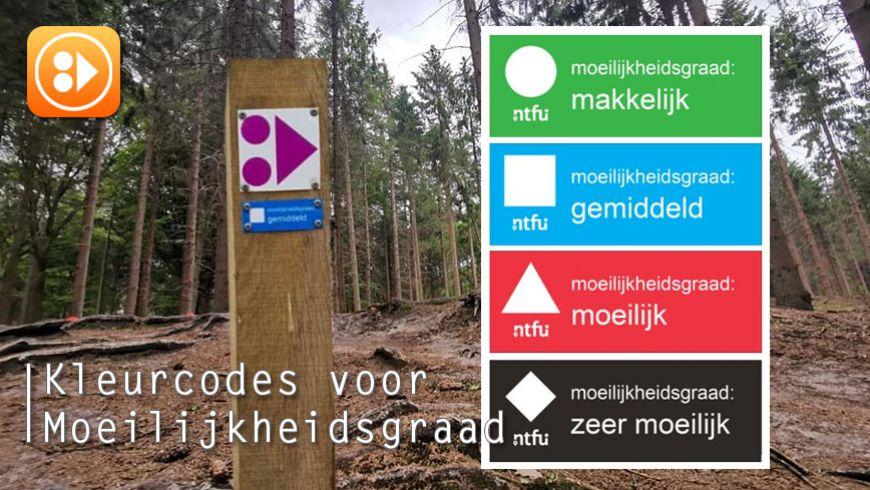 Kleurcodes voor moeilijkheidsgraad MTBroutes